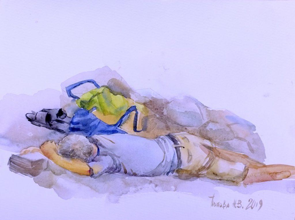 Спящий - Второй быстрый этюд Наталии Поповой - Профессионального Художника марафон 8минутки День Третий
