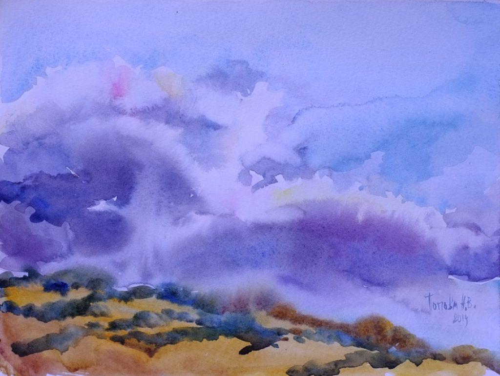 Небо и гора = Третий быстрый этюд Наталии Поповой - Профессионального Художника марафон 8минутки День Второй