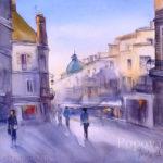 Запах круассанов - Картина Акварель 38x28 Написана Наталией Поповой - Профессиональным Художником в 2019 году