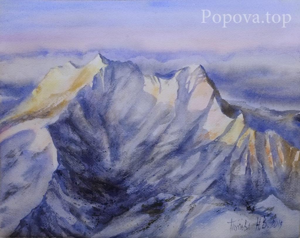 Закат на снежных вершинах - Картина Акварель 28х38 Написана Наталией Поповой - Профессиональным Художником в 2019 году