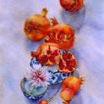 Время собирать гранаты - Картина Акварель 38х56 Наталия Попова - Профессиональный Художник 2019 год