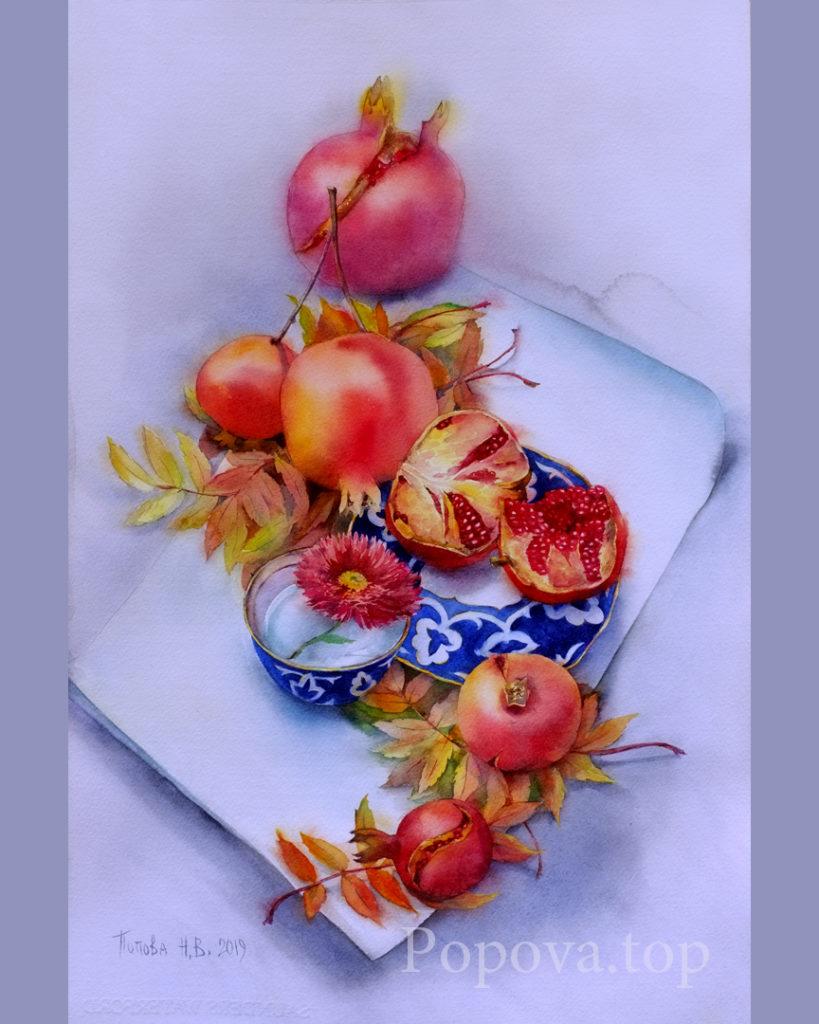 Вместо чая - Картина Акварель 38х56 Наталия Попова - Профессиональный Художник 2019 год