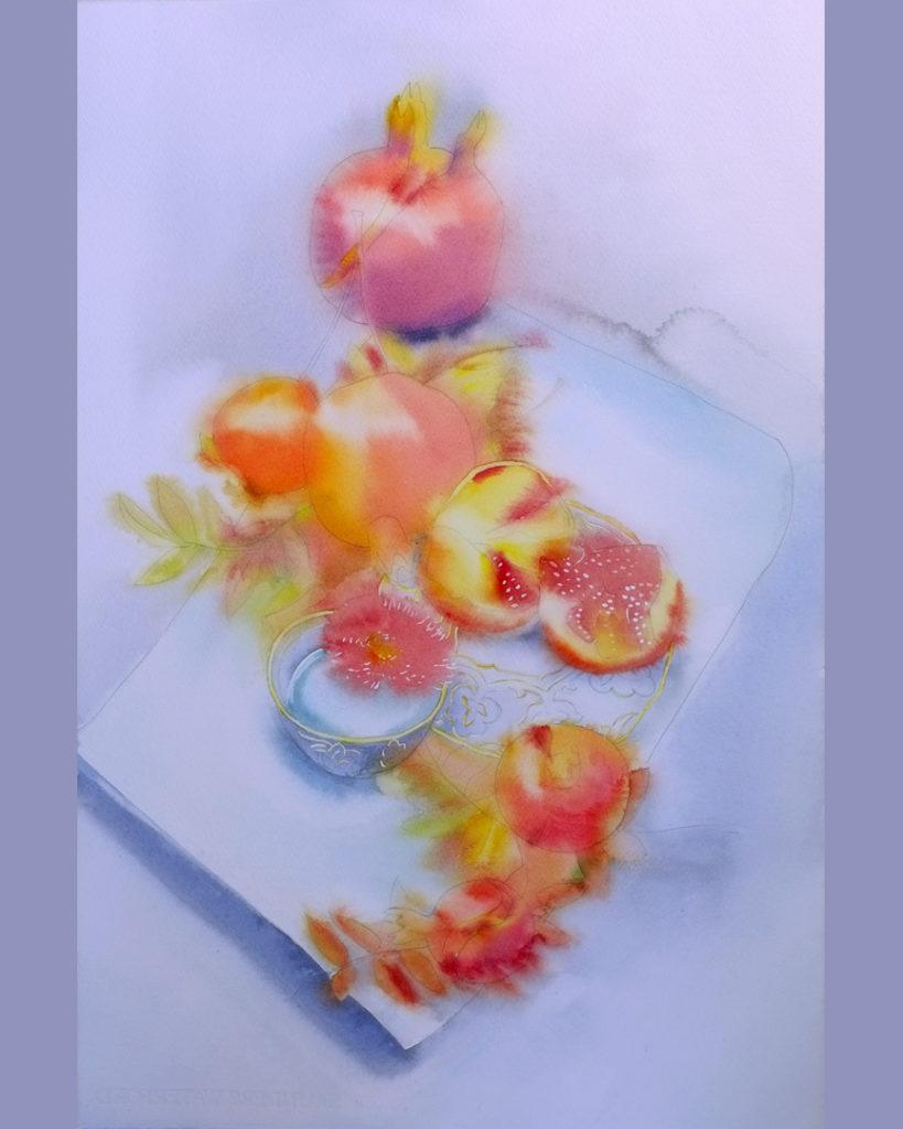 Вместо чая - этюд Акварель 38х56 в процессе написания Наталия Попова - Профессиональный Художник 2019 год
