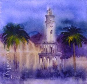 Измир - Картина Акварель 35х35 Написана Наталией Поповой - Профессиональным Художником в 2020 году