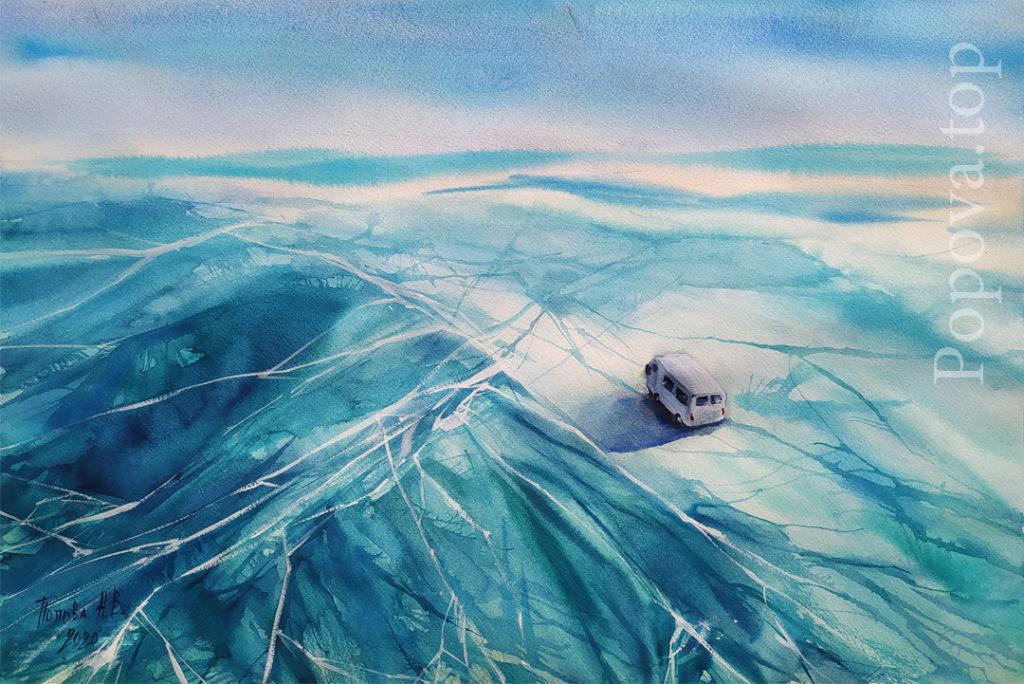 Льды Байкала - Картина Этюд Акварель 56х38 Написана Наталией Поповой - Профессиональным Художником в 2020 году