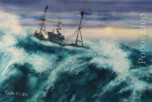 Я играю волнами - Картина Акварель 56х38 Наталия Попова - Профессиональный Художник 2020 год