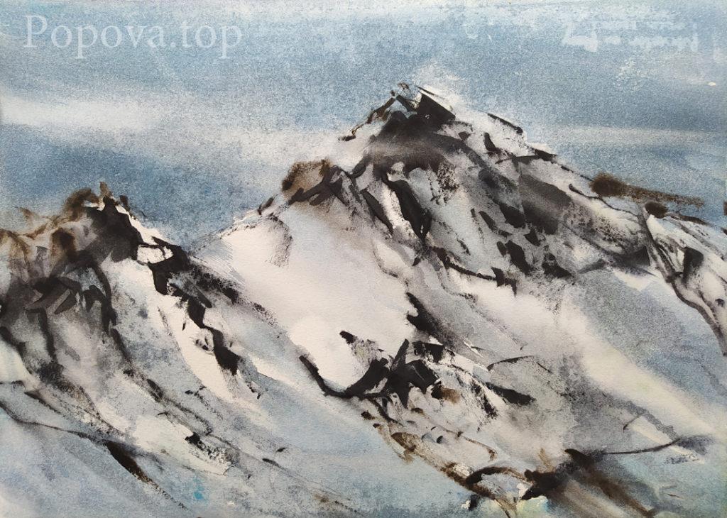 Горы и мастихин Картина ( этюд ) Акварель 28х38 Написана Наталией Поповой - Профессиональным Художником в 2020 году