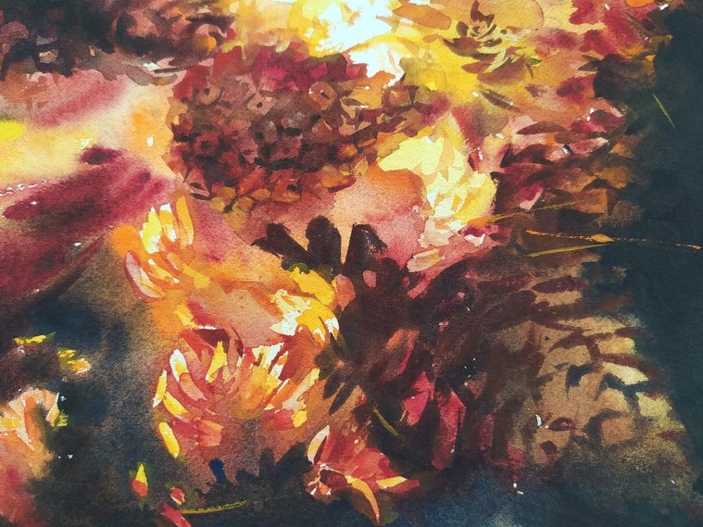Шишки в огне - фрагмент 1 Картина Акварель 56Х38 Наталия Попова - Профессиональный Художник 2020 год
