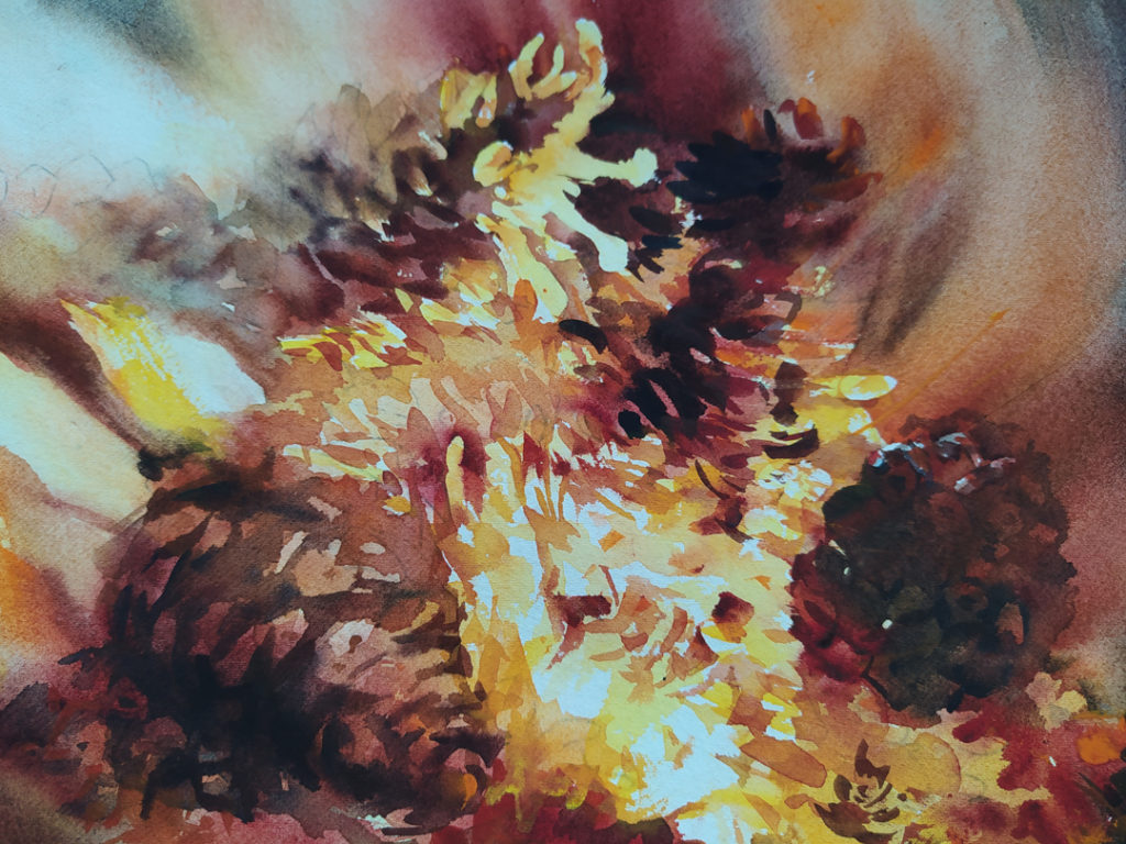 Шишки в огне - фрагмент 2 Картина Акварель 56Х38 Наталия Попова - Профессиональный Художник 2020 год